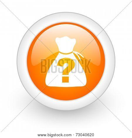 riddle orange glossy web icon on white background