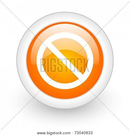 access denied orange glossy web icon on white background