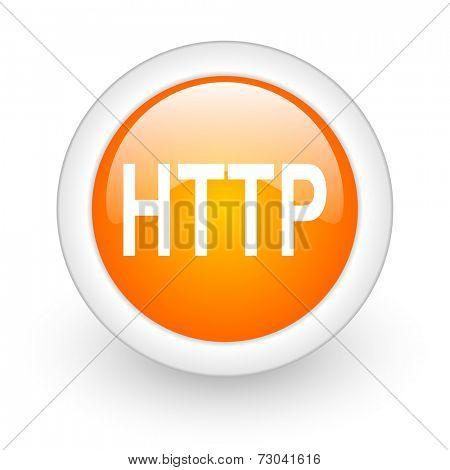 http orange glossy web icon on white background
