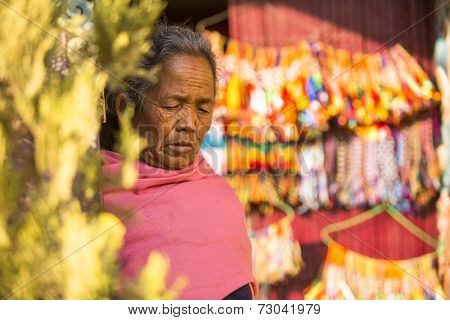 KATHMANDU, NEPAL - DEC 11, 2013: Unidentified old woman near stupa Boudhanath. Stupa is one of the largest in the world, of 1979 is a UNESCO World Heritage Site.
