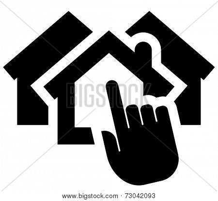 Black vector icon of hand clicking on house