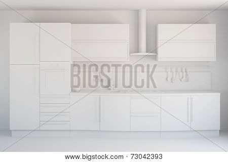 3D CAD draft of a white new kitchen