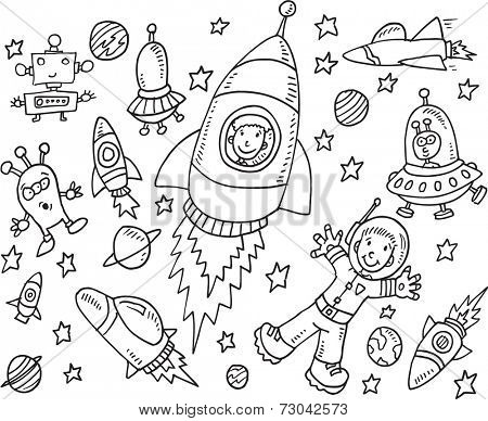Outer Space Doodle Illustration Art Set