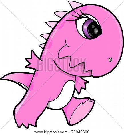 Pretty Pink Dinosaur Vector Illustration Art