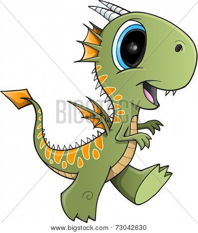 Cute Green Dragon Illustration Art