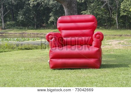 Large bounce inflatable chair in park