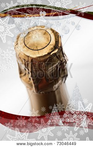 Composite image of christmas frame against close up of top of champagne bottle