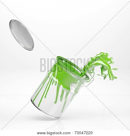 Green color splashing in paint can on white background