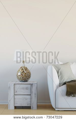 Interior reading lamp with cork in living room next to sofa