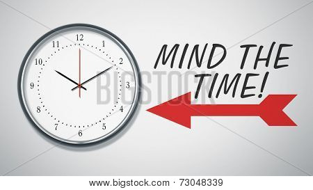 A clock at the wall with text mind the time