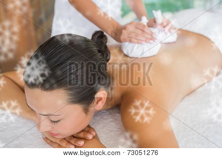 Content brunette getting a herbal compress massage against snowflakes