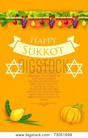 illustration of fruits hanging for Jewish festival Happy Sukkot