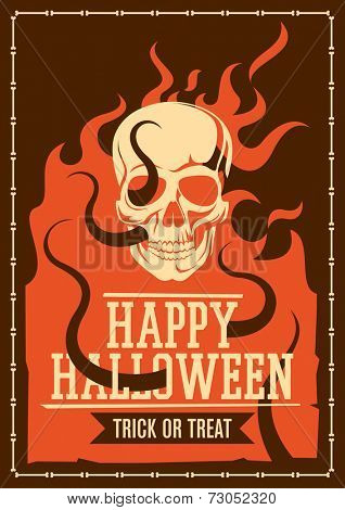 Halloween poster with skull. Vector illustration.