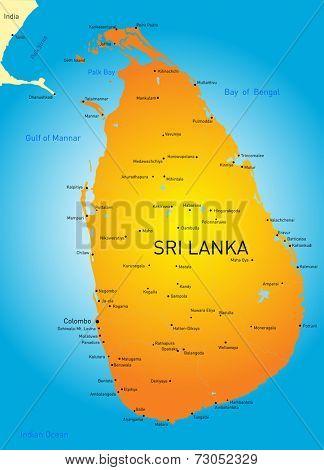 Vector color map of Sri Lanka