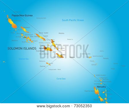 Vector color map of Soloman island