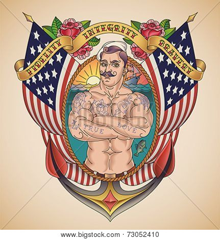 Old-school patriotic tattoo of a handsome sailor on the background of USA flags wrapped in a banner. Editable vector illustration.