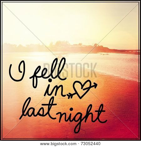Inspirational Typographic Quote - I fell in love last night