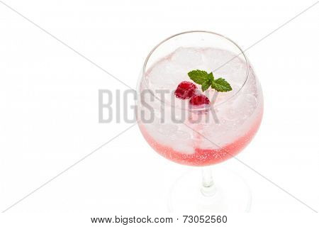 Gin hard liquor drink with berries fruits isolated on white