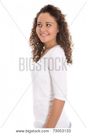 Pretty isolated young woman looking sideways to text.