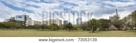 180 degree panorama of skyline of Nairobi, Kenya from Memorial Park