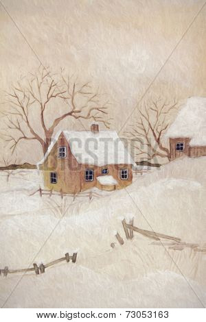 Winter scene with farmhouse/ digital watercolor