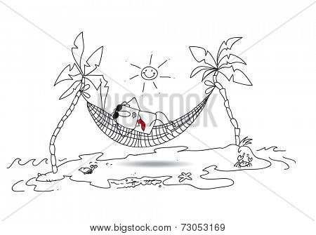 holiday. Joe is in holiday in a desert island. He tans in a hammock between two coconuts. Bye bye my boss loved.