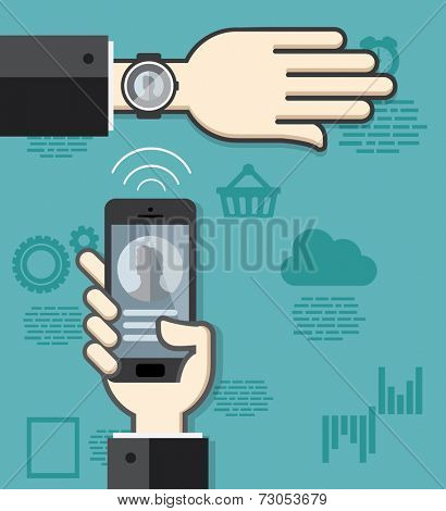 Smartwatch and smartphone communication. Smartphone sending contact details to smartwatch via wireless connection