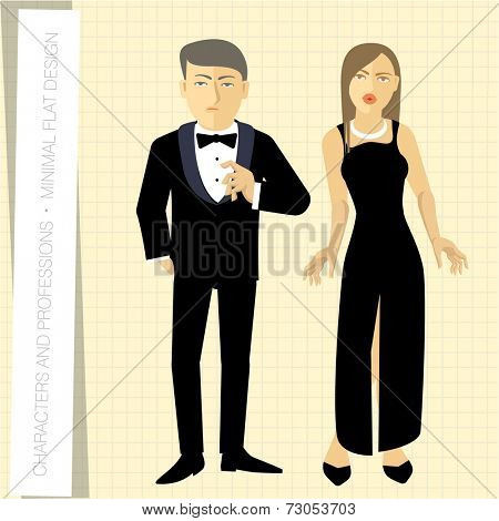 Office workers couple in flat modern style. Vector illustration.