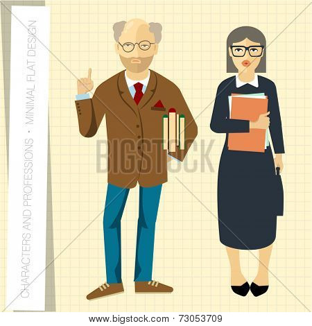 Professors couple in flat modern style. Vector illustration.