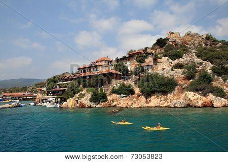 Kayaks Tourists On Background Of Kekova Island, Antalya, Turkey.