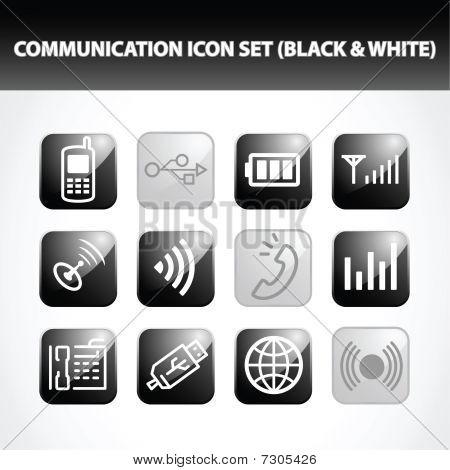 Communication Icon Set (Black & White)