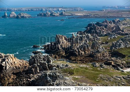 Aerial view of the Ushant island rocky coastline in Brittany, France