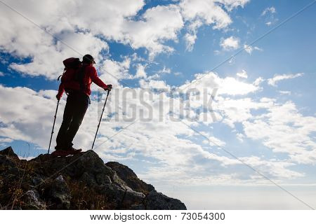 Male hiker standing on the top of a mountain. Summer day with shiny sun. Rear view.