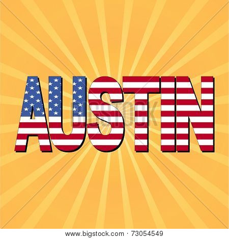 Austin flag text with sunburst vector illustration