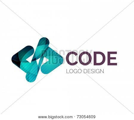 Abstract code icon logo design made of color pieces - various geometric shapes