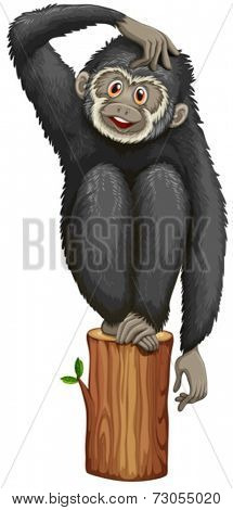 Illustration of a black gibbon on a log