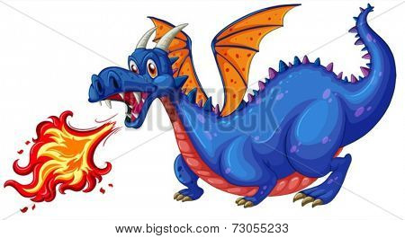 Illustration of a blue dragon blowing fire