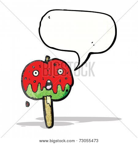 cartoon toffee apple with speech bubble
