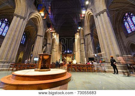 WASHINGTON D.C. - OCTOBER 7, 2013: Interior view of National Cathedral in Washington. The Cathedral is listed on National Register of Historic Places