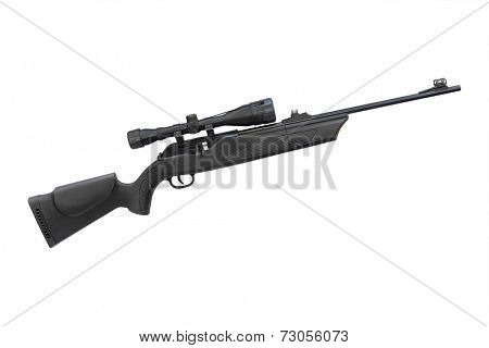 submachine gun under the white background
