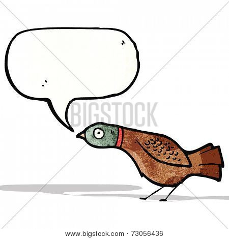 cartoon grouse with speech bubble