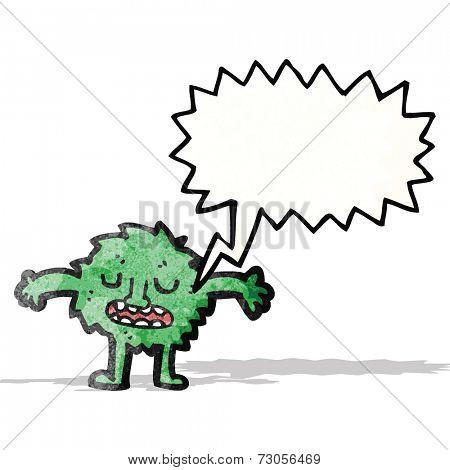 little furry green monster cartoon
