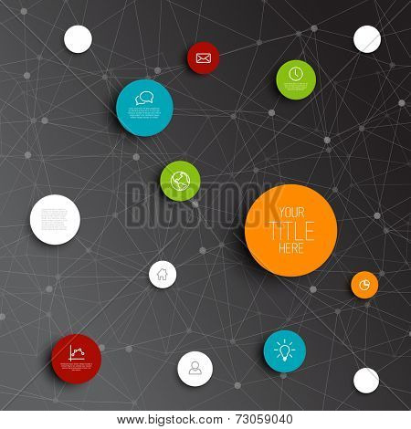 Vector abstract circles illustration / infographic network template with place for your content - dark version