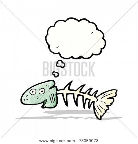 cartoon old fish bones