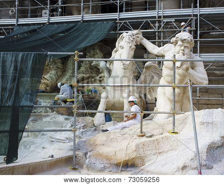 ROME, ITALY - SEPTEMBER 22, 2014: Famous Trevi Fountain (Fontana di Trevi) under restoration.