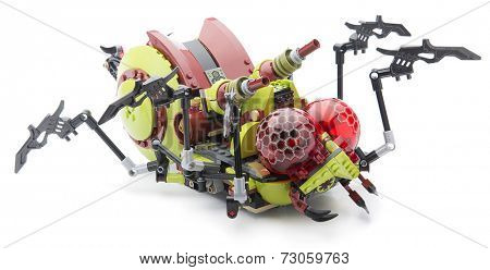 Ankara, Turkey - August 08, 2013: Lego Creepy Hive Crawler with moving legs isolated on white background.