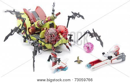 Ankara, Turkey - August 08, 2013: Lego Creepy Hive Crawlers isolated on white background.