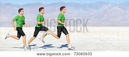Athlete running man - runner in speed showing sprinting motion. Male sport athlete sprinter composite in beautiful nature landscape. Fit fitness model in fast sprint run in outdoor in nature.
