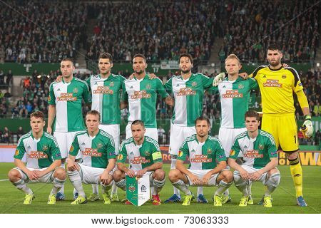VIENNA, AUSTRIA - NOVEMBER 7 The team of SK Rapid poses before a UEFA Europa League game on November 7, 2013 in Vienna, Austria.