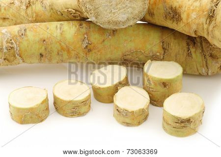 freshly harvested cut horseradish pieces on a white background